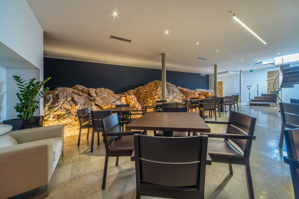 Golden Rays Luxury Resort - underground event room, inspired by natural rocks